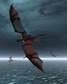 Flight of Red Dragons over the Sea