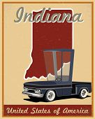 Indiana road trip vintage poster
