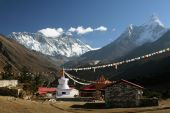 Panoramic view from the village of Tyangboche