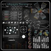 Chalk board doodle web charts vector