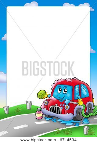 Frame With Cartoon Car Wash Poster ID:6714534