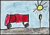 Original child's drawing of a red bus and traffic lights drawing by a five-year-old girl.