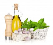 Fresh herbs, olive oil and pepper shaker. Isolated on white background