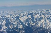 Caucasus mountains. View from the airplane.