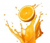 stock photo of orange-juice  - orange juice splashing with its fruit isolated on white - JPG