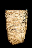 Rattan Basket Wicker Is Thai Handmade In Black Isolate