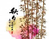 Vector Bamboo Ink Painting for Korean Chuseok (Mid Autumn Festival), Thanks Giving Day, Harvest Holi