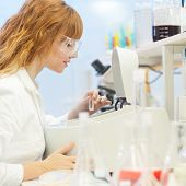 image of microscope slide  - Attractive young PhD student scientist looking at the microscope slide in the life science research laboratory  - JPG