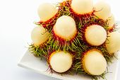 Rambutan On White Plate