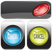 Cancel. Internet buttons. Raster illustration.