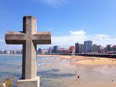 San Lorenzo Beach, Gijón, Asturias, Spain.