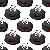 Seamless pattern of a cartoon hockey puck