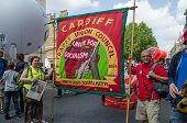 Cardiff Union Banner, protest march