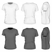 Men's white and black short sleeve t-shirt design templates (front, back, and side views). Vector il