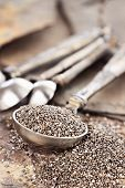 stock photo of tablespoon  - Tablespoon of healthy chia seeds with selective focus and extreme shallow depth of field.
