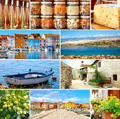 Set Of Istrian, Croatia. Adriatic Landscape. Popular Places And Food.