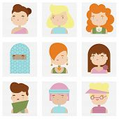 stock photo of kawaii  - Flat icons collection of various attractive female people characters in cute kawaii style - JPG