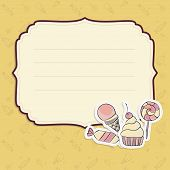 Greeting card with hand drawing candies
