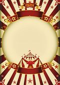 Circus cream entertainment. a circus vintage poster with a circle frame for your advertising.