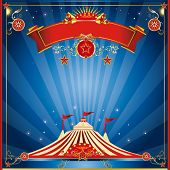 blue night square invitation. A square invitation card for your circus company.