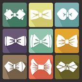 Colored Flat Icons With White Silhouettes Of Bow Tie