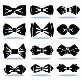 Several Black Silhouettes Of Bow Tie With Shadow
