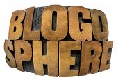 internet concept - blogosphere word in fisheye lens perspective - isolated in text in vintage letter