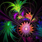Flower Background. Purple And Green Palette. Fractal Design. Computer Generated Graphics.