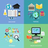 stock photo of online education  - Business education concept training tutorial reading discussion online flat icons set isolated vector illustration - JPG