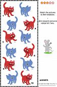 Match to shadow visual puzzle - red cats