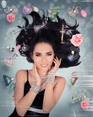 picture of perfume  - Beautiful young woman surrounded by floating perfume bottles in a glamour portrait - JPG