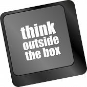 Think Outside The Box Words, Message On Enter Key Of Keyboard