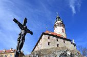 View Of Crucifix Near Cesky Krumlov Castle