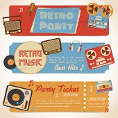 image of analogy  - Retro music party ticket banners with analog gadgets isolated vector illustration - JPG
