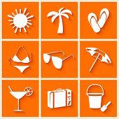 Summer and beach icons in flat style