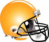 image of football helmet  - Vector illustration of orange football helmet on white background - JPG