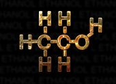 picture of ethanol  - Ethanol molecule concept with hydrogen - JPG