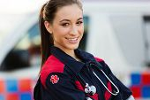 pic of jumpsuits  - close up portrait of beautiful young female emergency medical technician - JPG