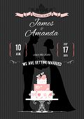 Wedding invitation with silhouette of the bride,  groom and wedding cake