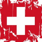 Swiss grunge flag. Vector illustration