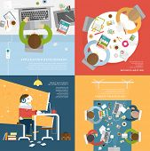 Set of Flat Style Illustrations: Office Worker, Business Meeting and Brainstorming, Product Presenta