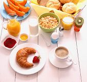 Table Set For Breakfast With Healthy Food