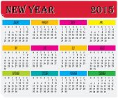 Year 2015 Monthly Colorful Calendar