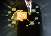 Businessman Holding Icon Of Social Network