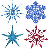 collection set of snowflake ornament decoration isolated on white background