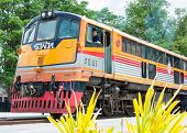 Kanchanaburi, Thailand - May 23, 2014: Train Ready To Cross The Bridge Over The River Kwai In Kancha