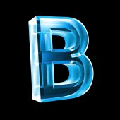 image of letter b  - letter B in blue glass  - JPG