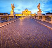 View Castle and Bridge of the Holy Angel in Rome