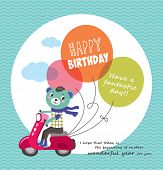 Birthday card with little bear & balloons