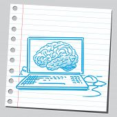 Brain on computer screen